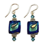 Blue, teal and Gold Glass Earrings GF