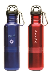 engravable red, khaki, blue stainless steel water bottle