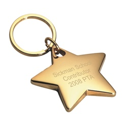Personalized Gold Star Key Chain