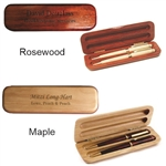 Personalized Maple or Rosewood Double Pen and Pencil Box