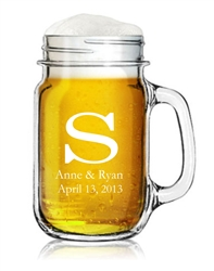 Engraved Mason Jar Mug with Handle