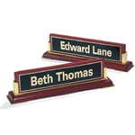 Rosewood Piano Finish Engraved Name Desk Block