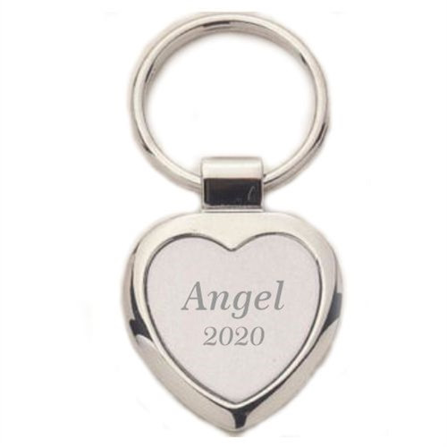 Heart Keychain - Engraved Silver & Matte Silver Key Ring