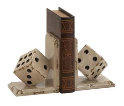 Jordan White Dice Bookend Set
