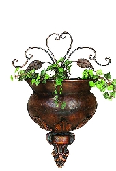 Nicholas Copper Floral Scroll Wall Planter