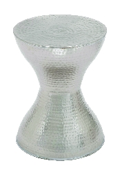 Bella Silver Hammered Metal Stool