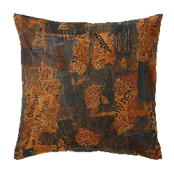 Maria Leather Newspaper Print Pillow