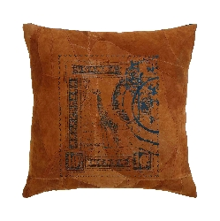 Declan Giraffe Stamp Leather Pillow