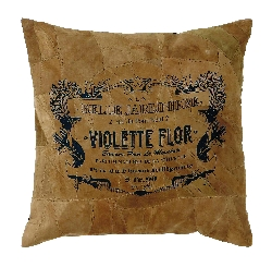 Paisley Violette Flor Leather Pillow