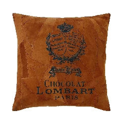 Reagan Rust Chocolate Lombart Paris Leather Pillow