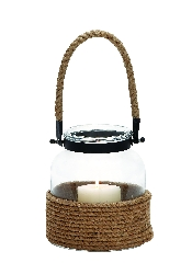 Brooke Glass Lantern With Rope Handle