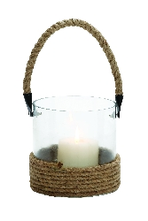 Eliana Glass Lantern With Rope Handle