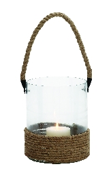 Tabansi Glass Lantern w Rope Handle