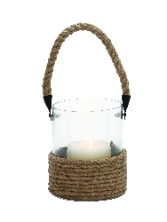 Luca Glass Lantern With Rope Handle