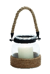 Kayla Glass Lantern With Rope Handle