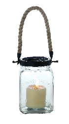 Jase Glass Lantern With Rope Handle