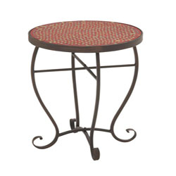 Sposetti Metal Red Mosaic Accent Table