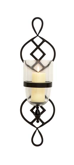 Nares Metal Glass Candle Sconce