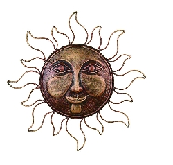 "Juliana 16"" Sun Face Antique Brown Wall Decor"