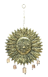"Brady Sun Face Wind Chime 21"" H, 12"" W"