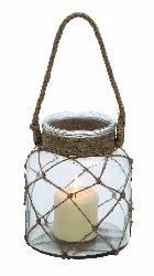 Dalton Jute Netted Glass Jar Candle Lantern