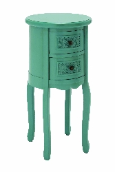 Rocco Turquoise Wood 2 Drawer Night Stand
