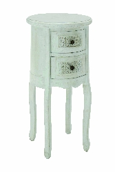 River Antique White Wood 2 Drawer Night Stand