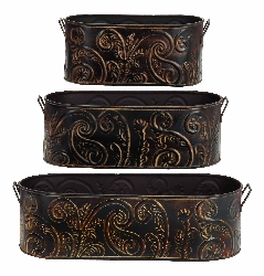 Kyleigh Embossed Oval Planter Set 3