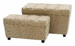 Gwen Burlap Ottoman With Storage Set 2
