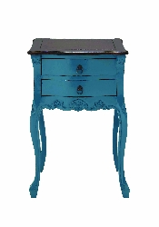 Kayson 2 Drawer Sky Blue & Brown Wood Table