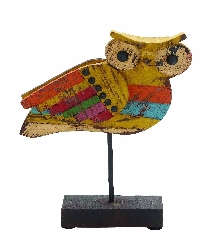 Thabit  Wood Painted Owl Figurine