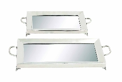 Kobe Sleek Silver Mirror Tray Set 2