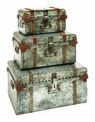 Tara Riveted Galvanized Trunk Set 3
