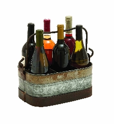 Frankie Galvanized 6 Bottle Wine Holder