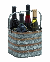 Arnav Rustic Galvanized Four Bottle Holder