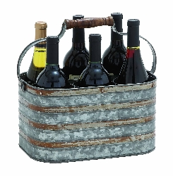 Abbie Rustic Galvanized Six Bottle Holder