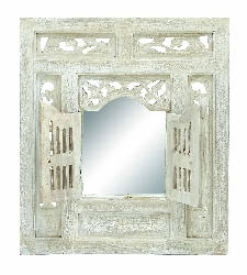 "Kiley Wood Mirror Decor 28"" H, 24"" W"