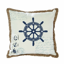 Aarush Ship Wheel Nautical Pillow