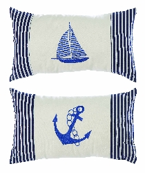 Anne Anchor & Sailboat Embroidered Pillow Set 2