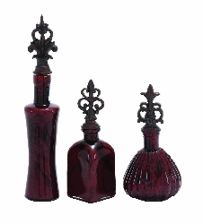 Milana Polished Red Glass Jar Set 3
