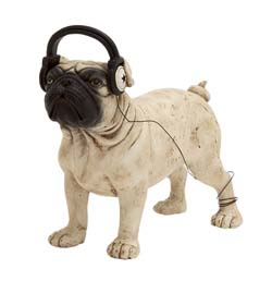 Ontario White Boxer Dog with Headphones Statue