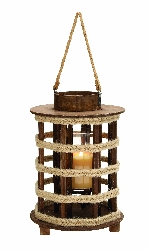 Keller Nautical Rope Handle Wood Lantern