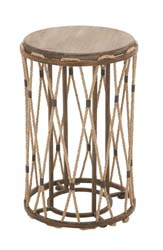 Terkan Wood & Metal Rope Side Table