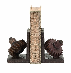 Caelyn Rusted Gear Bookend Set
