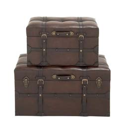 Waseda Wood & Leather Trunk Set/2