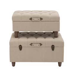 Herzberg Wood & Fabric Trunk Set/2