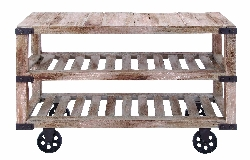 Kairo Rustic Console Cart on Wheels