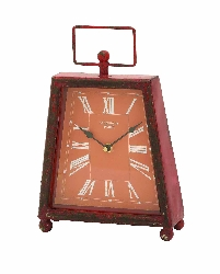 Alessio Retro Red Table Clock