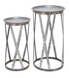 Avalon Galvanized Pedestal Set 2