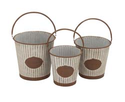 Zafar Patterned Metal Pail Set/3